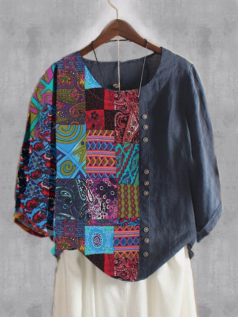 Plus Size Vintage Tribal Long Sleeve Casual Tops