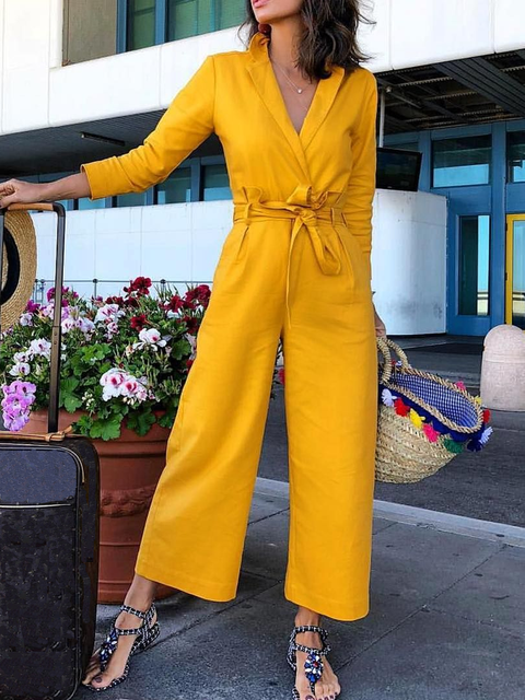 Yellow Lapel Cotton-Blend Long Sleeve One-Pieces