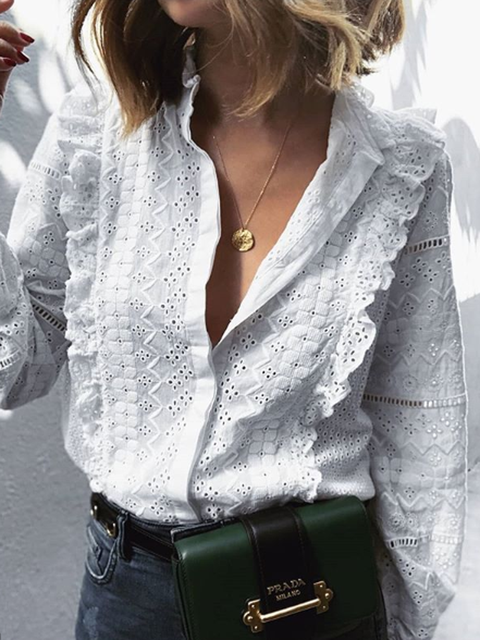 White Solid Casual Eyelet Shirts Tops