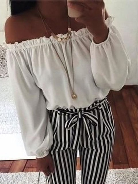 Cotton Off Shoulder Long Sleeve Tops