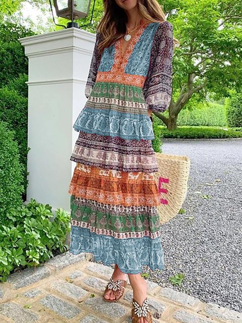 Plus Size V Neck Women Caftans Shift Daily Cotton Dresses