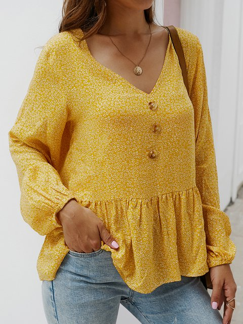 Floral-Print Long Sleeve Casual Cotton-Blend Shirts