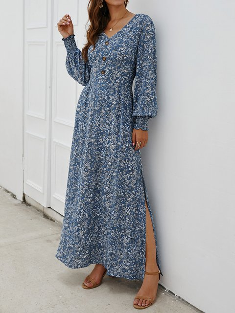 V Neck Women Floral Dresses Daily Cotton Floral Dresses