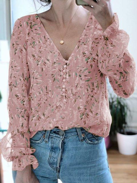 Chiffon V Neck Long Sleeve Buttoned Shirts