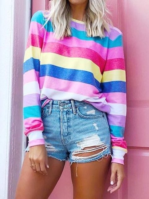 Stripes Crew Neck Cotton Casual Printed Tops