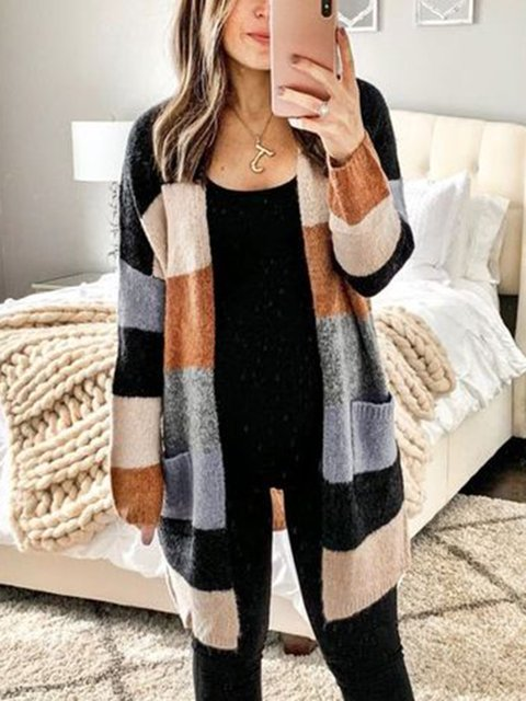 Pockets Holiday Cotton Stripes Knitted Sweater