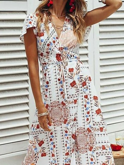 Floral Short Sleeve Boho Summer Shift Dresses