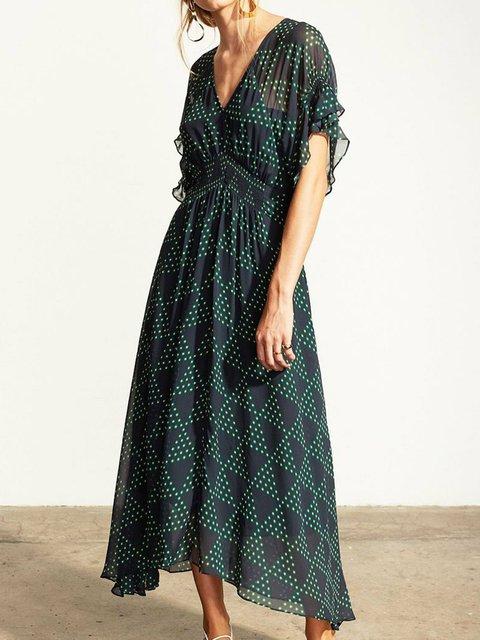 Plus Size Maxi Short Sleeve V Neck Daytime Geometric Dresses