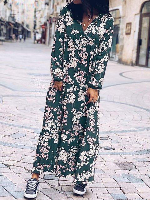 V Neck Blue Women Caftans Daily Floral Dresses