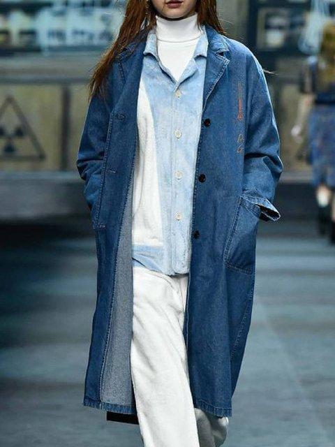 Blue Lapel Casual Long Sleeve Outerwear