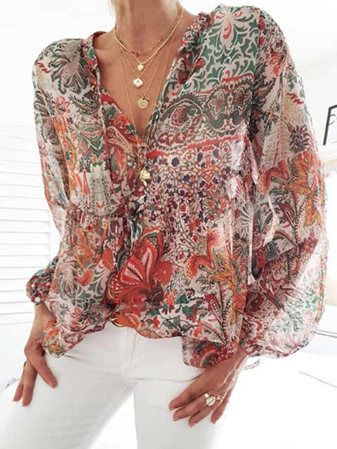 Red Casual Floral Shirts Tops