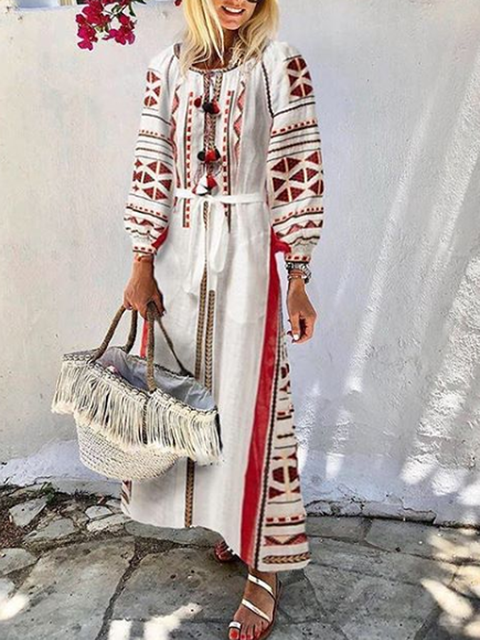 Crew Neck White Women Dresses Shift Daily Boho Tribal Dresses