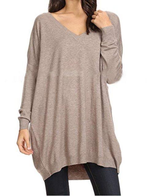 Khaki Casual Plain Paneled Long Sleeve Sweaters