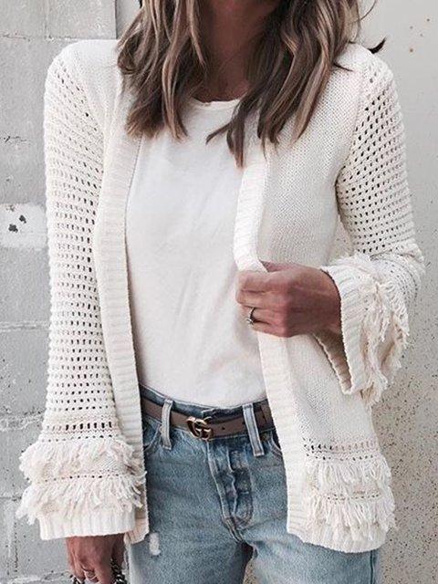 Beige Paneled Casual Cotton-Blend Plain Cardigans