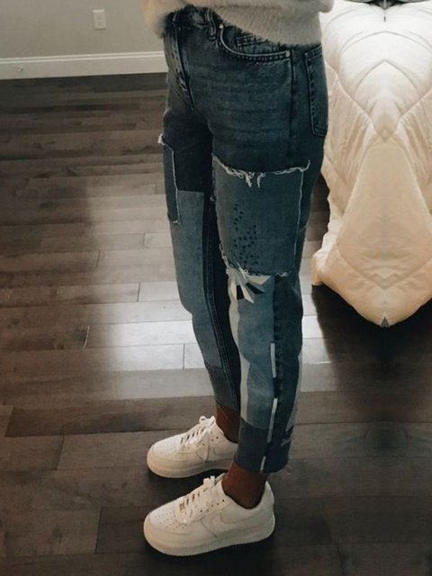 Denim Solid Holiday Paneled Pants