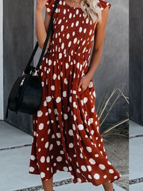 Crew Neck Red Women Dresses Shift Daily Printed Polka Dots Dresses