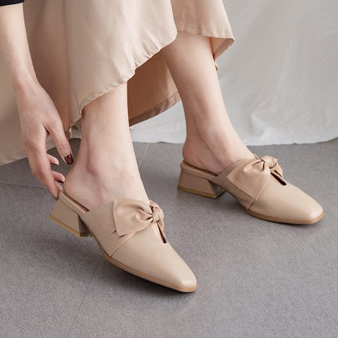 Date Square Toe Genuine Leather Chunky Heel Slip On Pumps