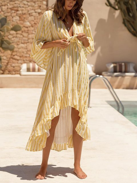 Boho V Neck Flounce Beach Casual Dresses