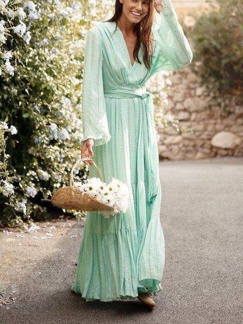 Long Sleeve Plus Size Maxi V Neck  Shift Daily  Dresses