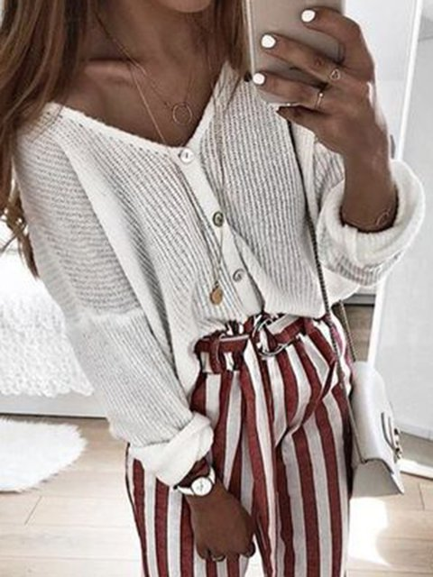 Buttoned V Neck Cotton Holiday Tops