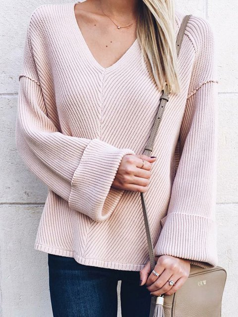 Light Pink Paneled Outdoor Sweaters