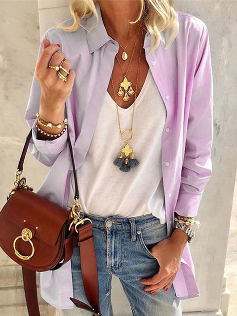 Buttoned Long Sleeve Solid Shirt Collar Shirts
