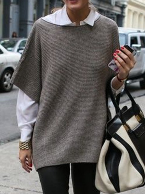 Gray Half Sleeve Paneled Acrylic Plain Sweaters