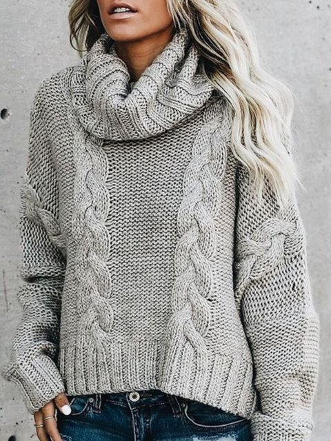 Knitted Casual Turtleneck Long Sleeve Cotton Sweater