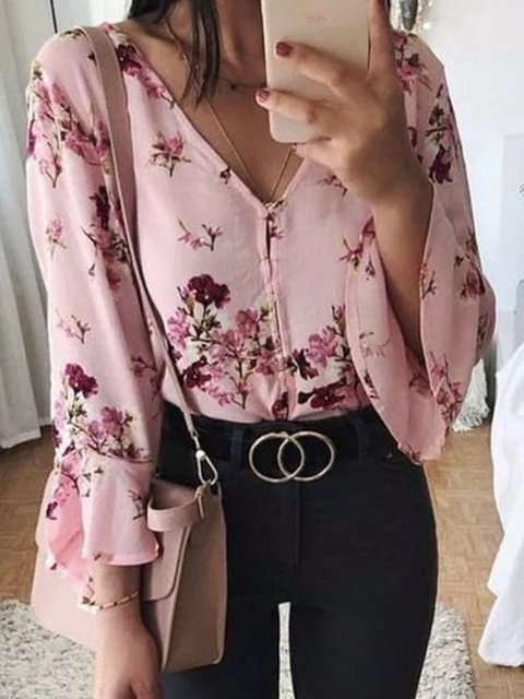 Long Sleeve V Neck Floral Casual Tops