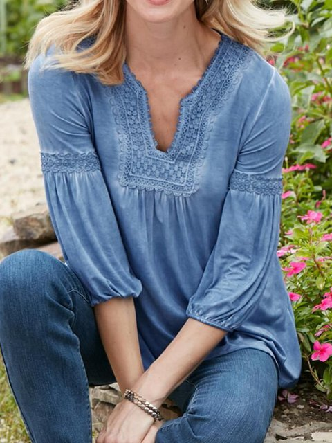 Blue Outdoor Cotton-Blend Ombre/tie-Dye Washed Shirts & Blouses