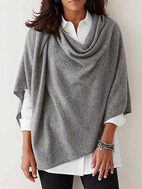 Gray Asymmetrical Half Sleeve Plain Shirts & Tops