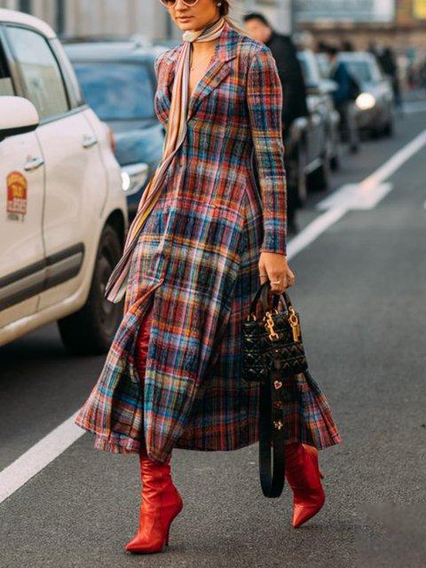 Plus Size Multicolor Checkered Slit Women Midi Dresses
