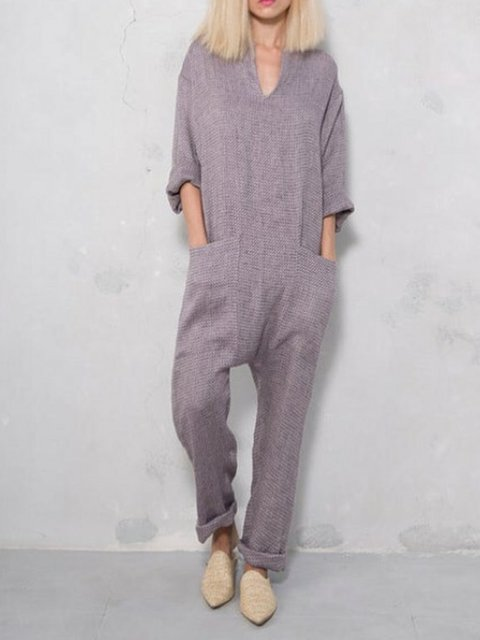 Plus Size Linen Women Jumpsuits Overalls With Pockets