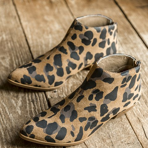 Leopard Faux Suede Chunky Heel Boots