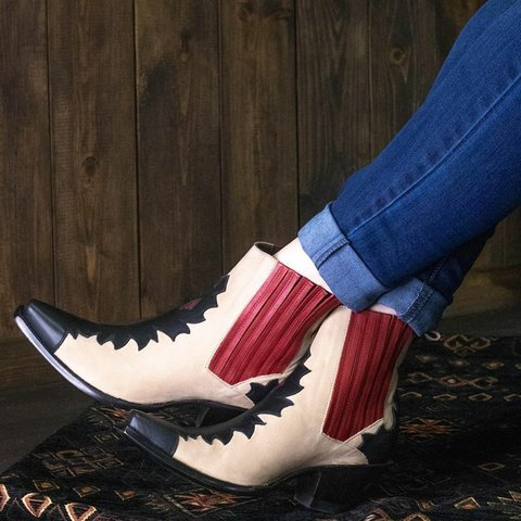 Vintage Block Heel Color Block Ankle Booties Slip-On Winter Women Boots Plus Sizes