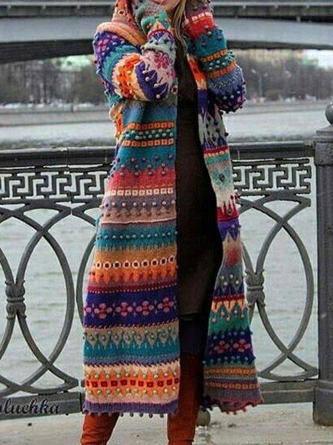 Multicolor Casual Acrylic Tribal Long Sleeve Coats