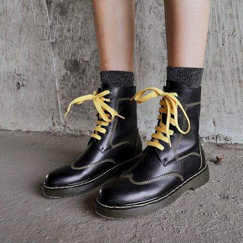Stylish Genuine Leather Round Toe Flat Heel Martin Boots