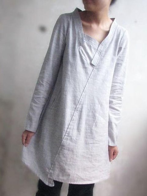 Gray Women Dresses Shift Daily Plain Dresses