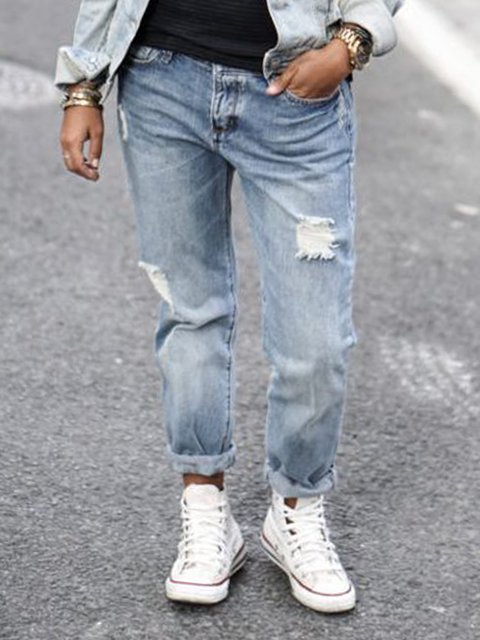 Solid Denim Solid Casual Pants