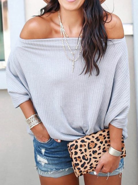 Gray Knitted Cotton Half Sleeve Casual Sweaters