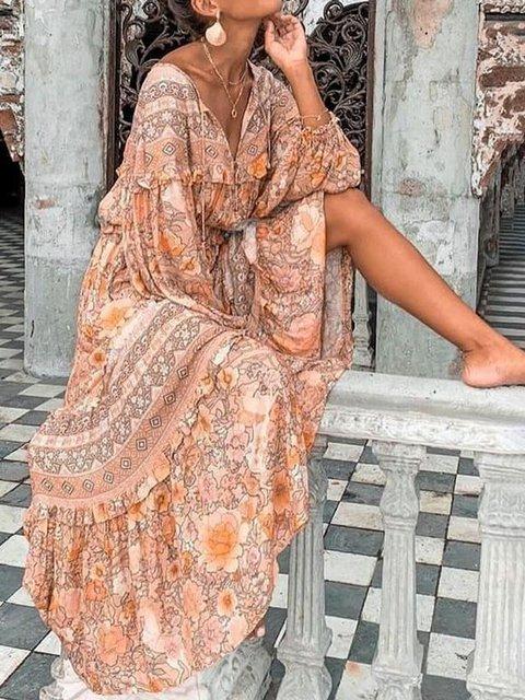 Tribal Long Sleeve Boho Cotton Dresses
