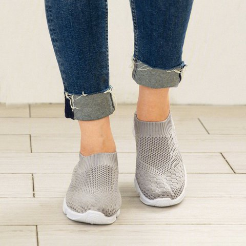 Women Breathable Elastic Cloth Sneakers Platform Slip On Sneakers