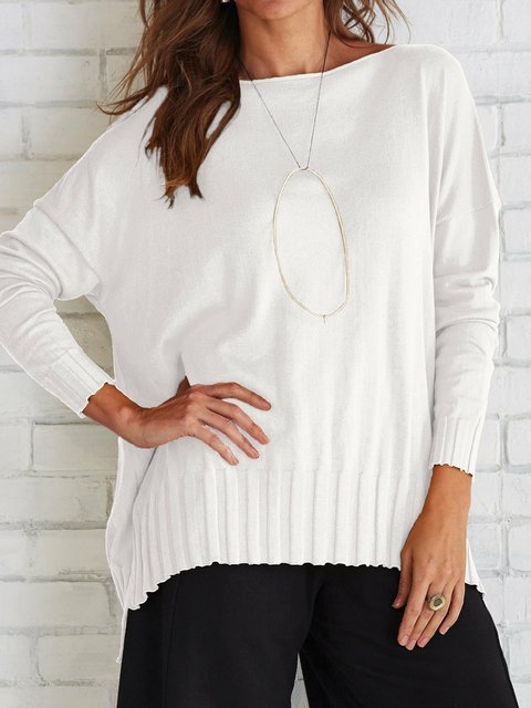 Plus Size Solid Sweater boat Neck Knitted Tops