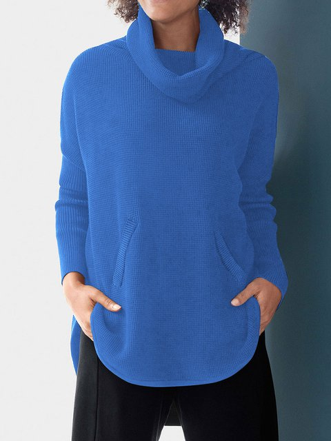 Plus Size Solid Sweater Women Cowl Neck Knitted Tops