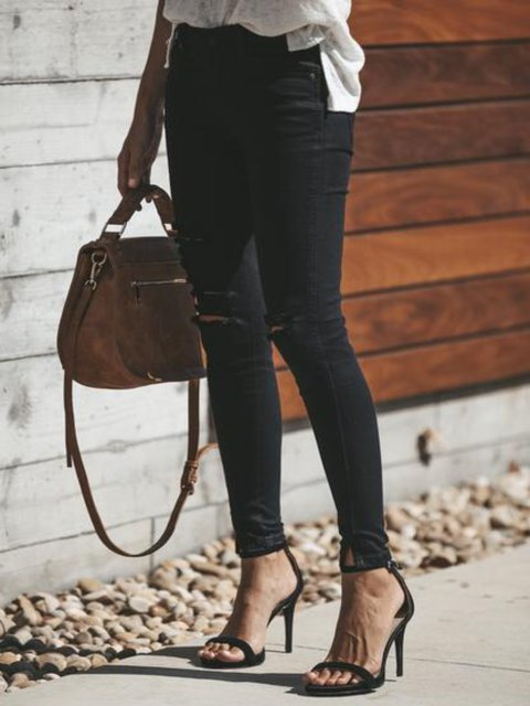Solid Cotton-Blend Ripped Pants