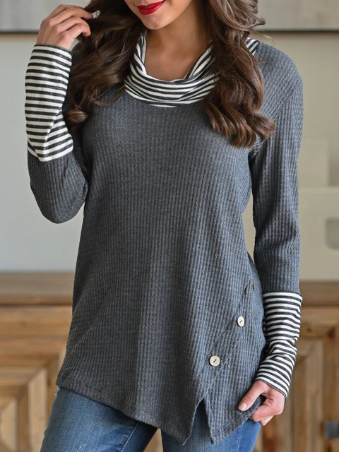 Buttoned Casual Solid Shirts & Tops