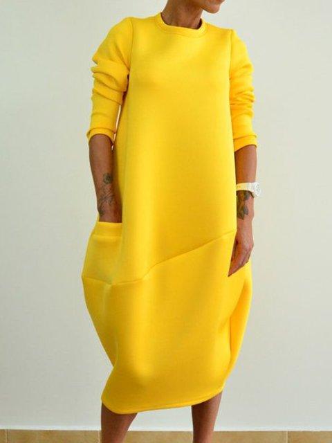 Plus Size Midi Dresses Solid Pockets Sweatshirt Dresses