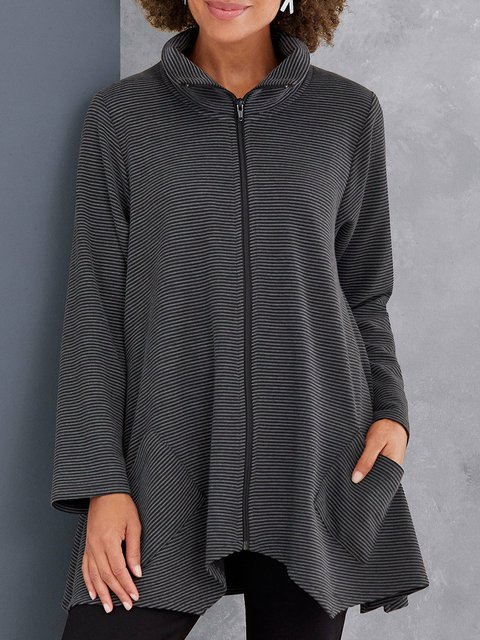 Plus Size Striped Coat Zipper Pockets Outerwear