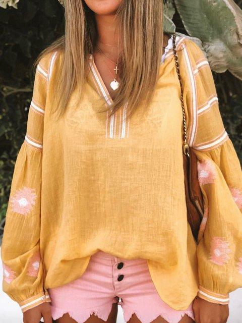 Plus Size Embroidery Blouses Women V Neck Boho Tops