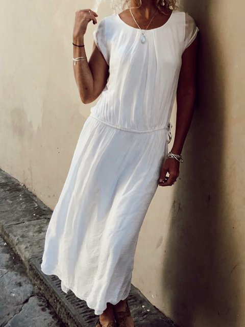 Plus Size Maxi Dresses Summer Solid Boho Crew Neck Dresses